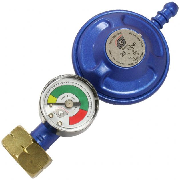 Caravan Motorhome BBQ 28 mbar Butane Screw Gas Regulator - With Level Gauge, Gas equipment for Campervan, Caravan & Motorhome, gas connectors, gas accessories, gas heater ancillaries
